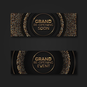 Elegant black and golden re-opening banner template