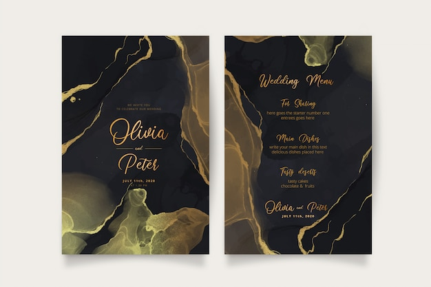 Elegant black and golden wedding invitation and menu template