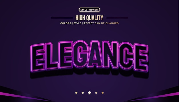 Elegant black and purple text style with embossed and curved effects