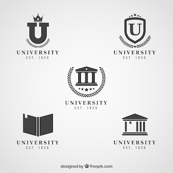 Elegant black and white logos for college