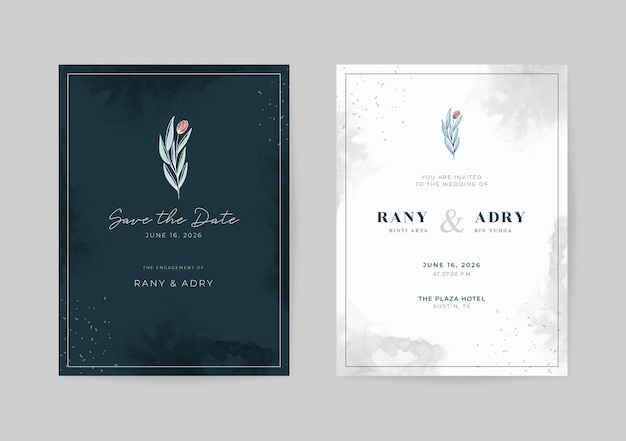 Elegant black and white wedding card