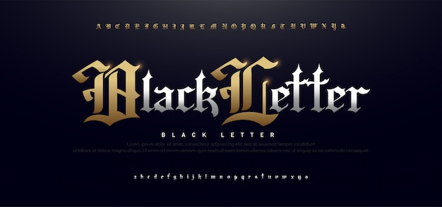 Elegant blackletter gothic golden alphabet font