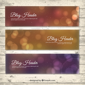 Elegant blog headers with bokeh effect