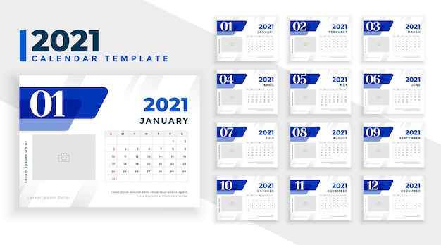 Elegant blue 2021 new year calendar template