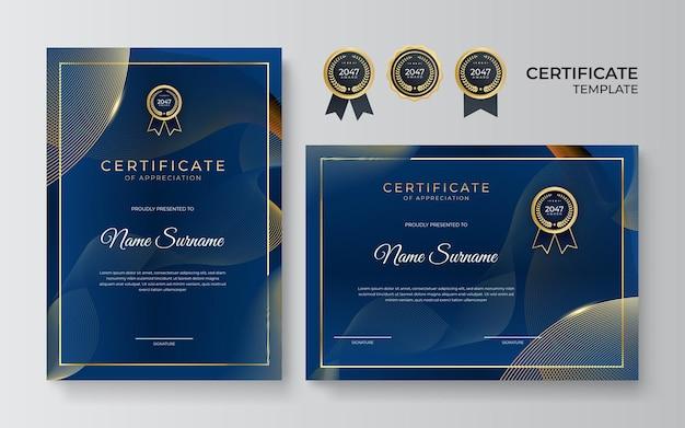 Элегантный синий и золотой шаблон сертификата диплома