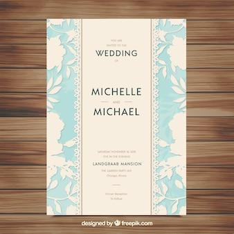 Elegant blue and white wedding invitation