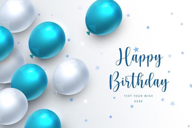Elegant blue ballon happy birthday celebration card banner template background