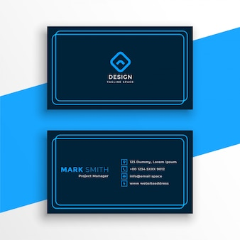 Elegant blue business card in line style template