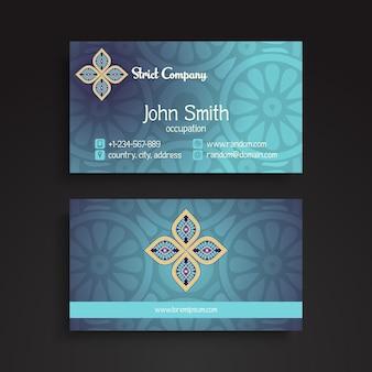 Elegant blue business card in mandala style