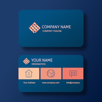 Elegant blue business card with square weave pattern logo.