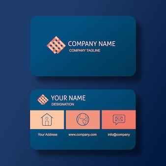 Элегантная синяя визитная карточка с логотипом квадратного плетения.