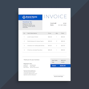 Elegant blue business invoice template