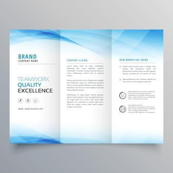 Elegant blue business trifold brochure design flyer template