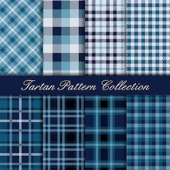 Elegant blue collection of tartan seamless patterns