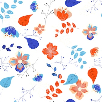 Elegant blue floral seamless pattern. vector flowers background