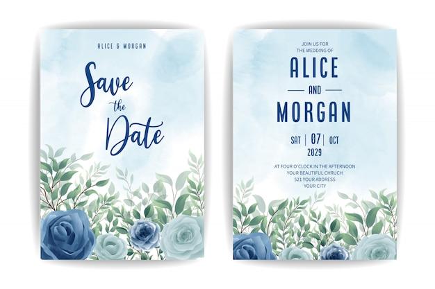 エレガントな青い花の水彩画の結婚式の招待状のデザイン