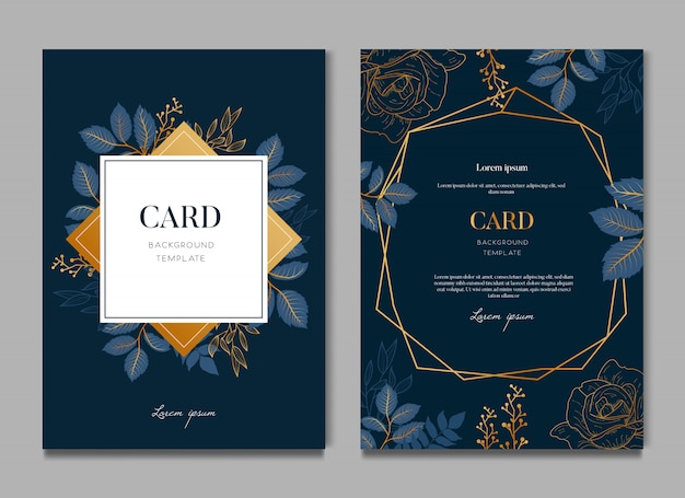 Elegant blue floral wedding card