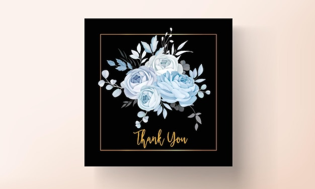 우아한 파란색 꽃 결혼식 초대장 템플릿