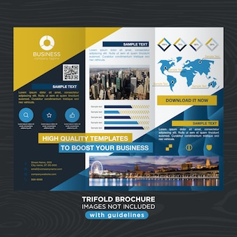 Elegant blue gold business design trifold brochure template