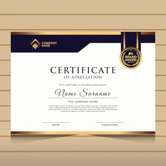 Elegant blue and gold diploma certificate template.