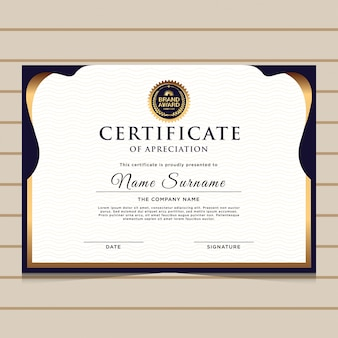 Elegant blue gold diploma certificate template