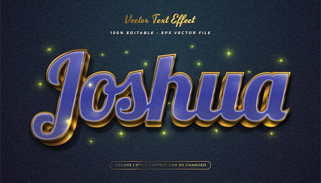 Elegant blue and gold text style with texture effect