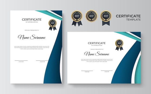 Elegant blue green and gold diploma certificate template