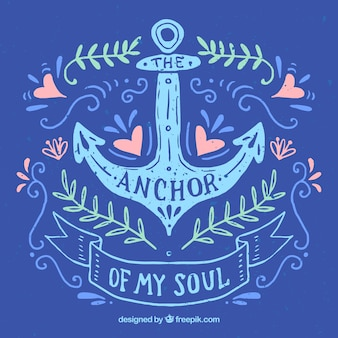 Elegant blue hand drawn anchor background
