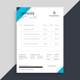 Elegant blue invoice template design