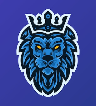 Элегантный синий логотип талисмана киберспорта короля льва