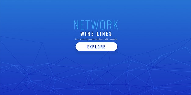 Elegant blue low poly network lines background