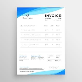 Elegant blue minimal style invoice template