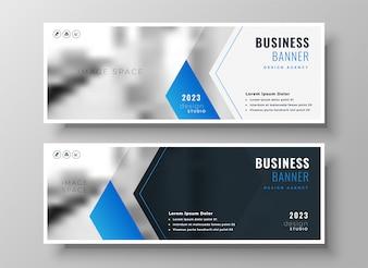 エレガントなブルーのモダンなビジネスバナーデザインテンプレート