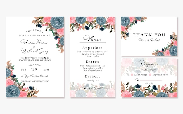 Elegant blue pink vintage floral wedding invitation set