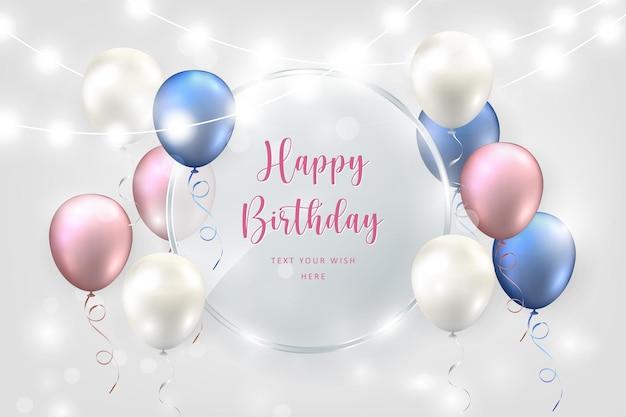 Elegant blue purple pink white ballon and decorative lighting chains round transparent glass plate happy birthday celebration card banner template