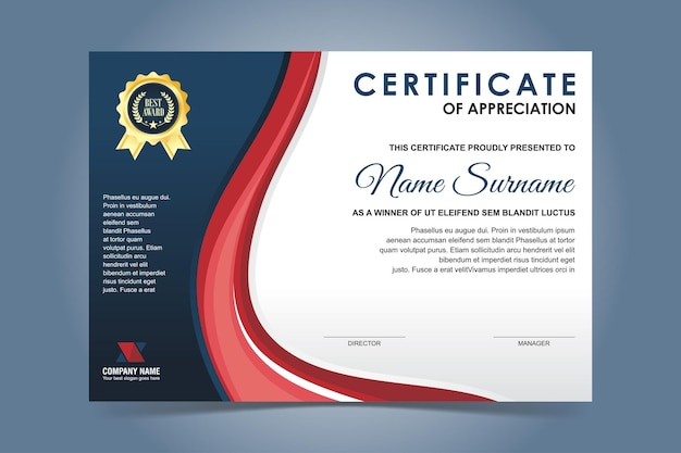 Elegant blue and red certificate template