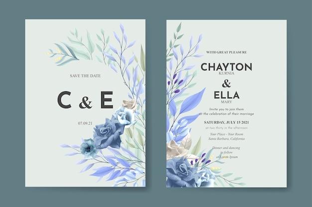 Элегантный цветочный шаблон свадебного приглашения с синей розой