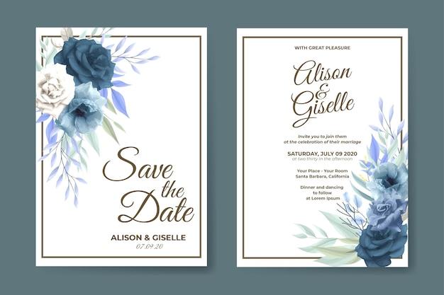 エレガントな青いバラの花の結婚式の招待カードのテンプレート