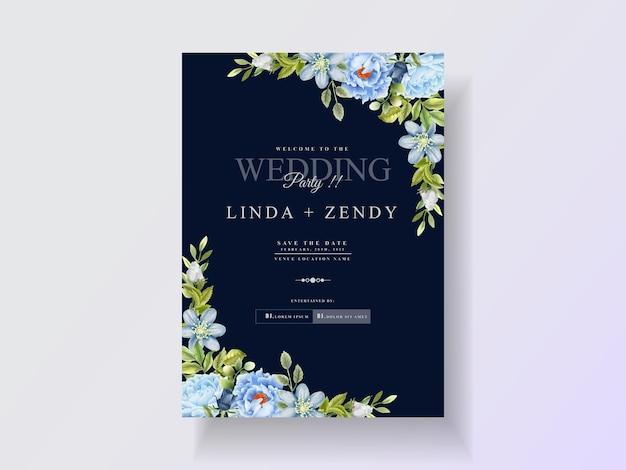 Элегантный шаблон приглашения на свадьбу с синими розами