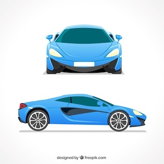 Elegant blue sports car