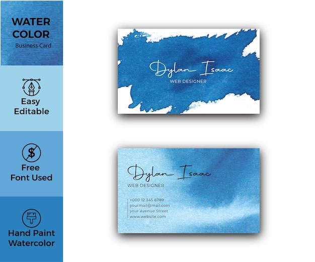 Elegant blue watercolor business card