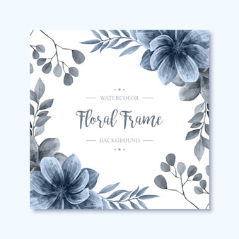 Elegant blue watercolor floral flowers frame background