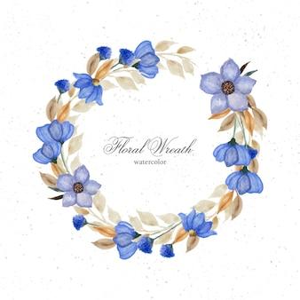 우아한 푸른 수채화 꽃 프레임