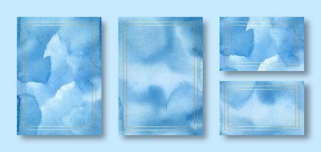 Элегантный синий акварельный шаблон свадебной открытки с золотой рамкой