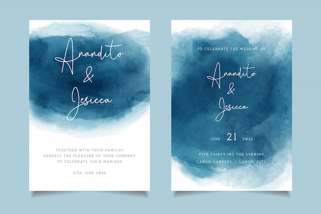Elegant blue waves watercolor wedding invitation with abstract style