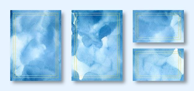 Элегантный синий шаблон свадебного приглашения
