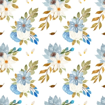 Elegant blue and white floral seamless pattern