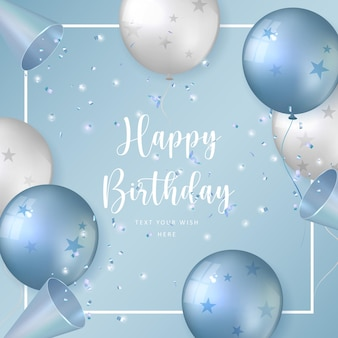 Elegant blue white silver ballon and party popper ribbon happy birthday celebration card banner template background
