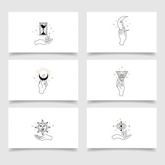 Elegant bohemian hand logo editable template