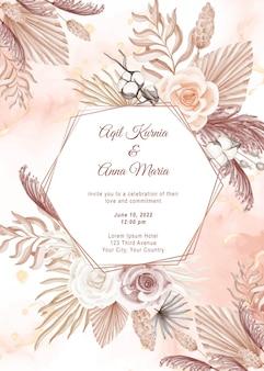 Elegant boho engagement rose watercolor wedding invitation template
